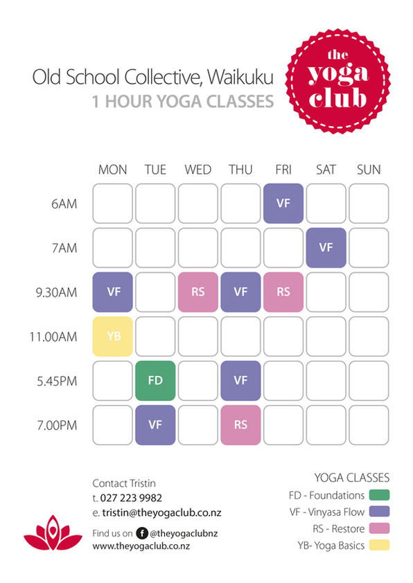 The Yoga Club NZ Timetable as of November 2019